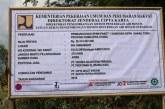 Papan Pagu Proyek Ketika Dimulainya Pengerjaan Pam Simas air di Desa Simanindo Sangkal.